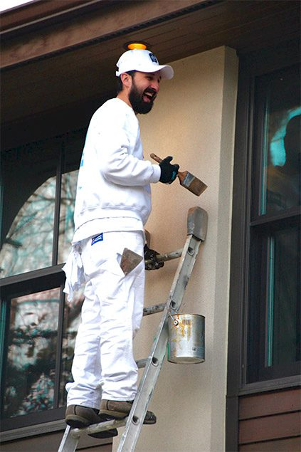 The-Urban-Painter-Calgary-Painter-Exterior-Painting-On-Ladder
